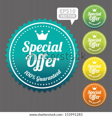 Special Offer Sticker and Tag Vintage and Gradient - Vector