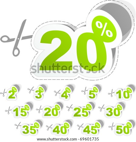 Special offer sticker - sale coupon. Shopping badge with percentage discount.