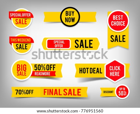 Special offer tag collection, set of banner elements for website and advertising. Discount label design, sale web coupons. Vector promotion badge icons. EPS10.