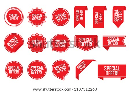 Special offer tag set in red. Vector illustration. #1187312260
