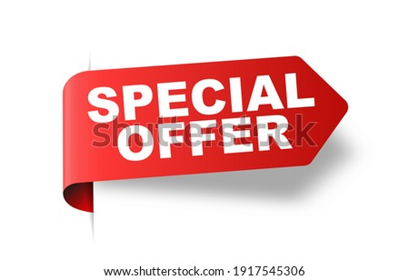 Special offer vector ribbon design template. Banner sale tag. Market special offer discount label  Foto stock ©
