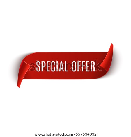 Special offer vector ribbon design template. Banner sale tag. Market special offer discount label