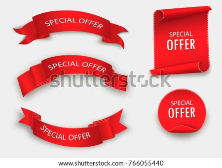 Special offer vector ribbon.Red scroll. Banner sale tag.