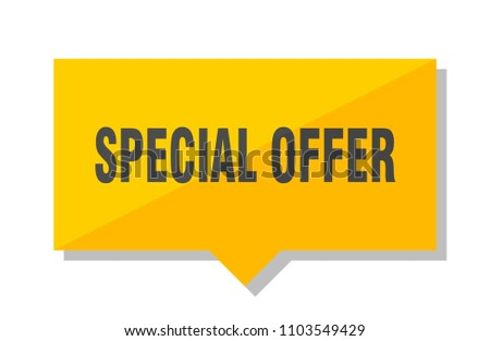 special offer yellow square price tag