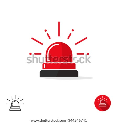 Special police flasher light emergency department ambulance accident tow snow removal logo sign symbol. Police red flasher siren sign flat style icon with scatter lined rays. Outline and round icons