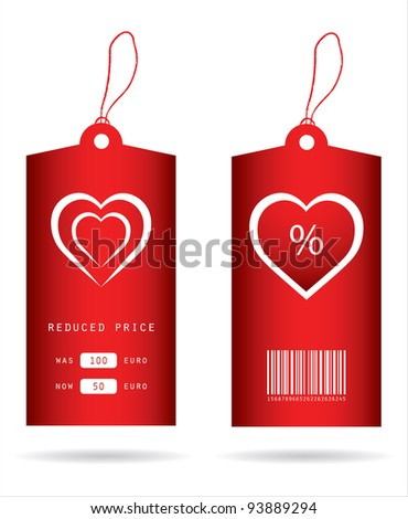 special price tags with Valentine's Day design