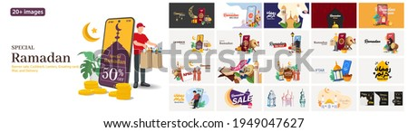 Special Ramadan illustrations. Mega set. Collection of scenes with Ramadan sale, Discount, Delivery, Cashback, Iftar party, Greeting card Ramadan Kareem, and Eid Mubarak,Trendy vector style