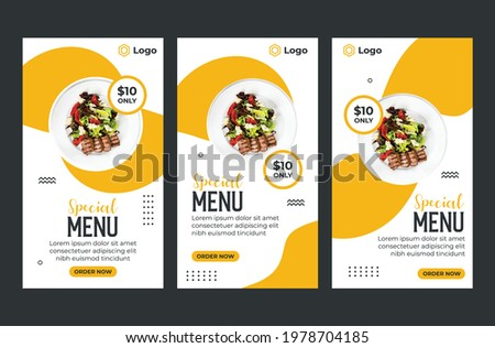 special restaurant menu social media story template collection, Social media banner design for restaurant with yellow white and dark colour. Fast food restaurant menu template Design.