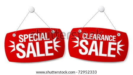 Special sale signs set.