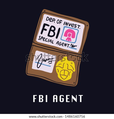Special services agent identity of FBI agent id. Men in black and xfiles inspired. Perfect space theme illustration for kids tshirt and fabric design. 90s tshirt. Vector, illustration, flat. - Vector