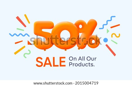 Special summer sale banner 50% discount in form of 3d yellow balloons sun Vector design seasonal shopping promo advertisement illustration 3d numbers for tag offer label Enjoy Discounts Up to 50% off