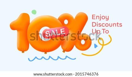 Special summer sale banner 10% discount in form of 3d yellow balloons sun Vector design seasonal shopping promo advertisement illustration 3d numbers for tag offer label Enjoy Discounts Up to 10% off