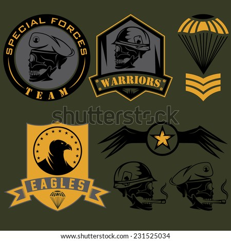 military patch template - special unit military emblem set vector design template