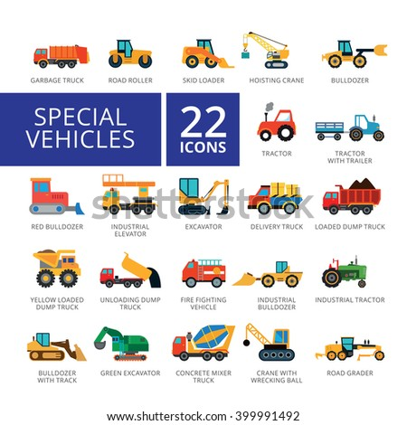 special vehicles flat icons set