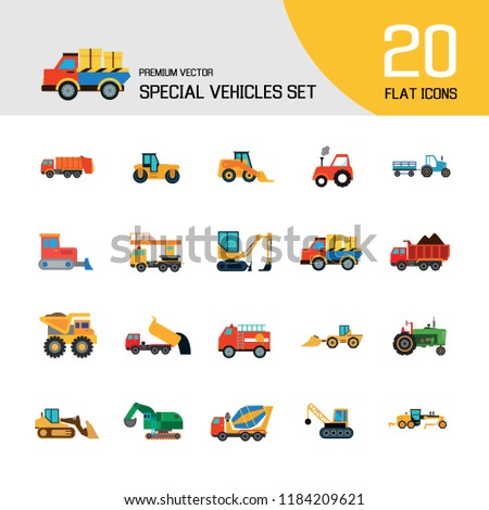 Special vehicles icon set. Skid loader, tractor, industrial elevator. Vehicle concept. Can be used for topics like industry, construction, road building