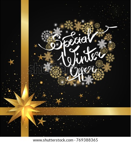 Special winter offer poster isolated on black background with blurred glittering stars and splashes, decorative frame made of snowflakes, snowballs vector