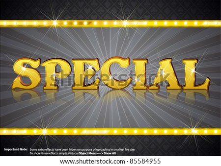Special Write in gold shining font