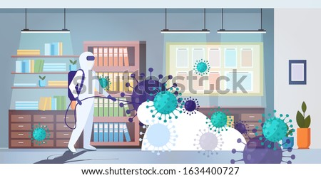 specialist in hazmat suit cleaning disinfecting coronavirus cells epidemic MERS-CoV office interior wuhan 2019-nCoV pandemic health risk full length horizontal vector illustration