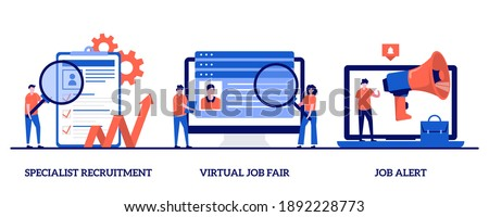Specialist recruitment, virtual job fair, job alert concept with tiny people. Headhunting vector illustration set. Human resources, digital hr, job offer, work opportunity information metaphor.