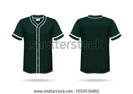Specification Baseball T Shirt Dark Green Mockup isolated white background , Blank space on the shirt for the design and placing elements or text on the shirt , blank for printing , illustration