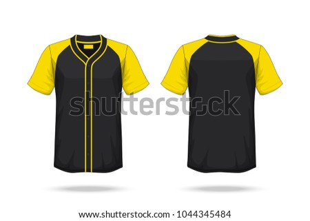Specification Baseball T Shirt yellow black Mockup  isolated on white background , Blank space on the shirt for the design and placing elements or text on the shirt , blank for printing , illustration