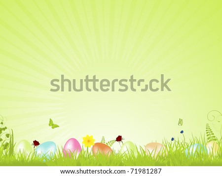 speckled easter eggs in a spring background with flowers and tranquil light rays