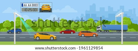 SPECS, average speed measuring speed camera system. Average speed cameras on freeway. SPECS cameras operate as sets of two or more cameras installed along a fixed route