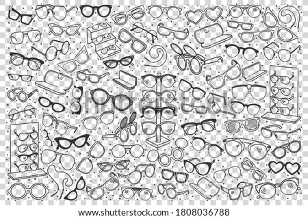 Spectacles doodle set. Colection of hand drawn sketches templates patterns of optician objects sunglasses assortment on transparent background. Eye health and vision illustration. Foto stock ©