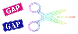 Spectral colored mesh scissors line, and Gap scratched framed rectangle stamp seals. Pink and blue rectangle stamp seals have Gap title. Vector model created from scissors line icon.