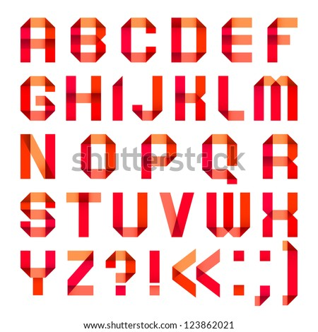 Spectral letters folded of paper ribbon-red. Roman alphabet (A, B, C, D, E, F, G, H, I, J, K, L, M, N, O, P, Q, R, S, T, U, V, W, X, Y, Z).