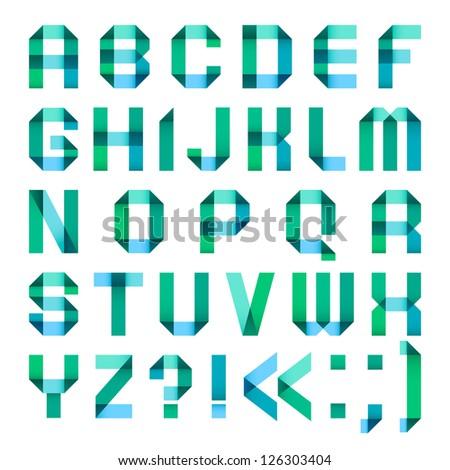 Spectral letters folded of paper ribbon-turquoise - Roman alphabet (A, B, C, D, E, F, G, H, I, J, K, L, M, N, O, P, Q, R, S, T, U, V, W, X, Y, Z) Stok fotoğraf ©