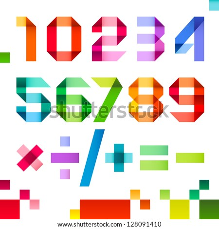 Spectral numbers folded of paper ribbon color - Arabic numerals (0, 1, 2, 3, 4, 5, 6, 7, 8, 9), vector illustration