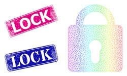 Spectrum colored mesh lock, and Lock dirty framed rectangle seal prints. Pink and blue rectangle stamp seals include Lock title. Vector model created from lock icon. Colored carcass polygonal icon.