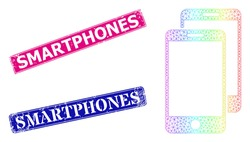 Spectrum colorful net smartphones, and Smartphones grunge framed rectangle stamp seals. Pink and blue rectangle stamp seals include Smartphones tag. Vector model created from smartphones icon.