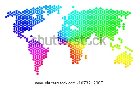 World map made with dots descargue grficos y vectores gratis spectrum hexagon world map vector geographic map in rainbow colors on a white background gumiabroncs Images