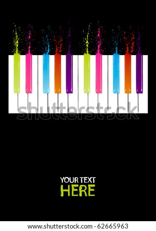 Spectrum piano keys with copy space