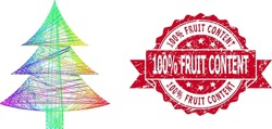 Spectrum vibrant network fir tree, and 100 percent Fruit Content unclean ribbon stamp seal. Red stamp seal contains 100 percent Fruit Content tag inside ribbon.