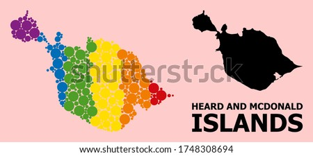 Spectrum vibrant pattern vector map of Heard and McDonald Islands for LGBT, and black version. Geographic concept map of Heard and McDonald Islands is done with random round spheric dots.