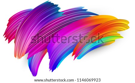 Spectrum watercolor, acrylic or gouache brush strokes drawn on white paper background. Colorful gradient brush design. Card or poster abstract template. Vector art illustration.