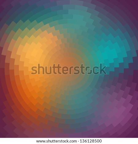 Spectrum wheel made of bricks. Rainbow color spectrum grunge background. Square composition with geometric color flow effect. Color wheel