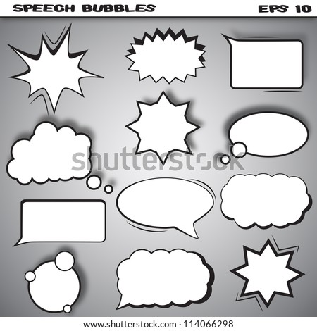 Speech and thought bubbles vector set isolated on white. Comic style speech bubbles collection. Funny design vector items illustration. Vector illustration.