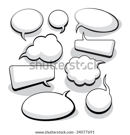 Speech And Thought Bubbles With Space For Text (vector). In the gallery also available XXL jpeg image made from this vector