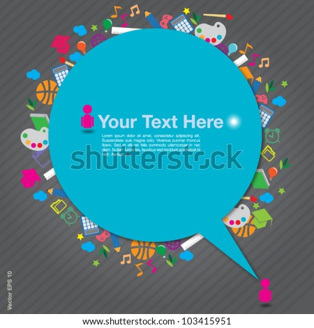 speech background with education icons on gray background, vector format