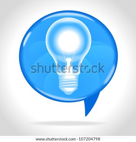 speech bubble and bulb,