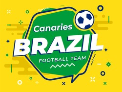Speech Bubble BRAZIL with icon football, soccer ball. Vector Illustration.