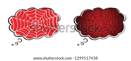 Speech bubble Cobweb on Red background. Vector eps illustration Spider happy halloween party fun funny spooky logo creepy horror insect hush dia 31 october fest Spiderman hallow Webbing line pattern
