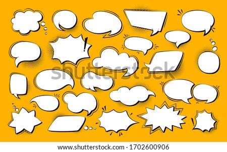 Speech bubble comic pop art set. Retro empty design elements dialog clouds with halftone dot background. Speech thought blobs comics book, vintage banner. Cartoon 80s-90s Vector illustration Isolated
