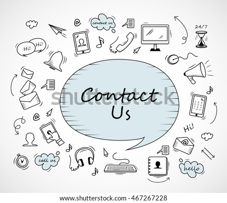 Speech Bubble, Contact Us Icons Set - Isolated On White Background-Vector Illustration, Graphic Design. For Web,Websites,Magazine Page,Print, App, Presentation Templates And Promotional Materials