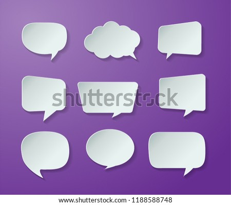 speech bubble cut paper design template. Vector