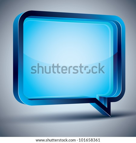 Speech bubble 3d modern style, vector design element. Contain transparent shadow ready to put over any background.